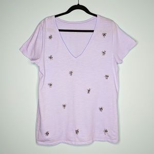 A New Day Sequin V Neck T Shirt